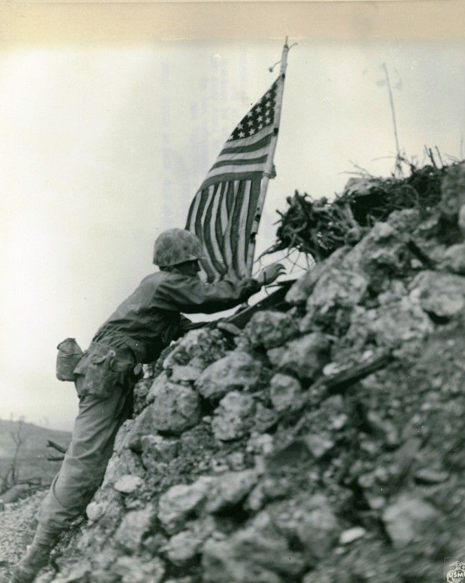 Flag_Raising,_Shuri_Castle,_Okinawa,_1_June_1945_(7118576681)